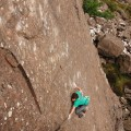 Ricky Bell on the FA of Long Runs The Fox E9 6c Fair Head - photo Pat Nolan