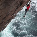 Ricky Bell on the FA of Tiger Gorm E7 6c Owey Island Donegal - photo Pat Nolan