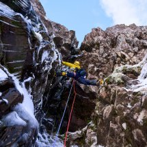 Beinn Bhan, Great Overhanging Gully crux, photo Hamish Frost