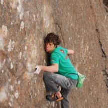 Ricky Bell on the FA of Long Runs The Fox E9 6c Fair Head - photo Pat Nolan..1